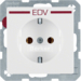 "47436079 SCHUKO socket outlet with ""EDV"" imprint in red polar white velvety"