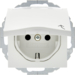 47461909 SCHUKO socket outlet with hinged cover Labelling field,  enhanced contact protection,  Mounting orientation variable in 45° steps,  Berker S.1/B.3/B.7, polar white matt