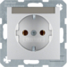47501404 SCHUKO socket outlet with labelling field,  Berker S.1/B.3/B.7, aluminium,  matt,  lacquered