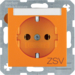 "47501914 SCHUKO socket outlet with ""ZSV"" imprint Labelling field,  Berker S.1/B.3/B.7, orange matt"