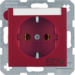 "47501915 SCHUKO socket outlet with ""EDV"" imprint Labelling field,  Berker S.1/B.3/B.7, red matt"