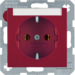 47508902 SCHUKO socket outlet with labelling field,  Berker S.1/B.3/B.7, red glossy