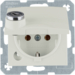 47638982 SCHUKO socket outlet with hinged cover Lock - differing lockings,  Berker S.1, white glossy