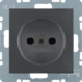6167331606 Socket outlet without earthing contact with enhanced touch protection,  Berker S.1/B.3/B.7, anthracite,  matt