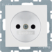 6167331909 Socket outlet without earthing contact with enhanced touch protection,  Berker S.1/B.3/B.7, polar white matt