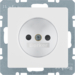 6167336089 Socket outlet without earthing contact with enhanced touch protection,  polar white velvety