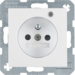 6765091909 Socket outlet with earth contact pin and monitoring LED with enhanced touch protection,  Screw-in lift terminals,  Berker S.1/B.3/B.7, polar white matt