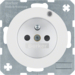 6765092089 Socket outlet with earthing pin and control LED with enhanced touch protection,  Screw-in lift terminals,  Berker R.1/R.3/R.8, polar white glossy