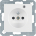 6765098989 Socket outlet with earth contact pin and monitoring LED with enhanced touch protection,  Screw-in lift terminals,  Berker S.1/B.3/B.7, polar white glossy