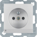 6765101404 Socket outlet with earthing pin and LED orientation light enhanced contact protection,  Screw-in lift terminals,  Berker S.1/B.3/B.7, aluminium matt
