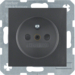 6765761606 Socket outlet with earthing pin with enhanced touch protection,  with screw-in lift terminals,  anthracite,  matt