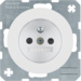 6765762089 Socket outlet with earthing pin with enhanced touch protection,  with screw-in lift terminals,  Berker R.1/R.3/R.8, polar white glossy