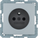 6765766074 Socket outlet with earthing pin with enhanced touch protection,  with screw-in lift terminals,  Berker Q.1/Q.3/Q.7/Q.9