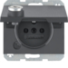 6768117006 Socket outlet with earthing pin and hinged cover with lock - differing lockings,  Berker K.1/K.5