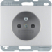 6768757003 Socket outlet with earthing pin with enhanced touch protection,  Berker K.5, Aluminium,  aluminium anodised