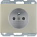 6768757004 Socket outlet with earthing pin with enhanced touch protection,  Berker K.5, stainless steel,  metal matt finish