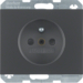 6768757006 Socket outlet with earthing pin with enhanced touch protection,  Berker K.1, anthracite matt,  lacquered