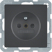 6768766086 Socket outlet with earthing pin with enhanced touch protection,  Berker Q.1/Q.3/Q.7/Q.9, anthracite velvety,  lacquered