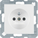 6768768989 Socket outlet with earthing pin with enhanced touch protection,  Berker S.1/B.3/B.7, polar white glossy