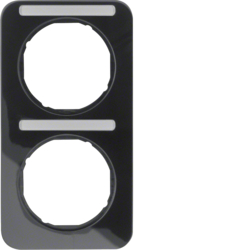 10122125 Frame 2gang vertical with labelling field,  Berker R.1, black glossy