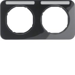 10122135 Frame 2gang horizontal with labelling field,  Berker R.1, black glossy