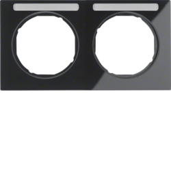 10122235 Frame 2gang horizontal with labelling field,  Berker R.3, black glossy
