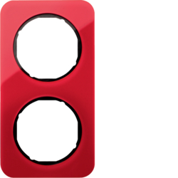 10122344 Frame 2gang Berker R.1, red transparent/black glossy,  acrylic