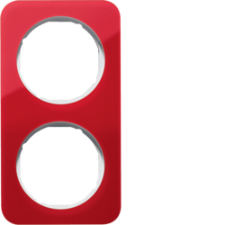 10122349 Frame 2gang Berker R.1, red transparent/polar white glossy,  acrylic