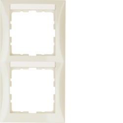 10128912 Frame 2gang vertical with labelling field,  Berker S.1, white glossy