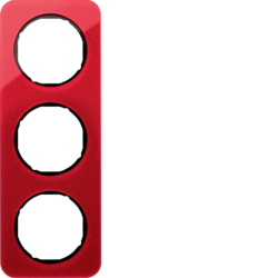 10132344 Frame 3gang Berker R.1, red transparent/black glossy,  acrylic