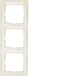 10138912 Frame 3gang vertical with labelling field,  Berker S.1, white glossy