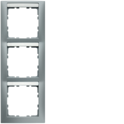 10139959 Frame 3gang vertical with labelling field,  Berker S.1, aluminium matt