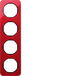 10142344 Frame 4gang Berker R.1, red transparent/black glossy,  acrylic