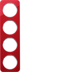 10142349 Frame 4gang Berker R.1, red transparent/polar white glossy,  acrylic
