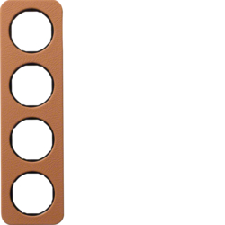 10142364 Frame 4gang Berker R.1, brown/black glossy,  embossed leather