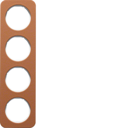 10142369 Frame 4gang Berker R.1, brown/polar white glossy,  embossed leather