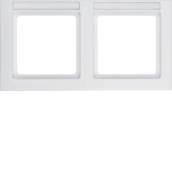 10226099 Frame 2gang horizontal with labelling field,  Berker Q.3, polar white velvety
