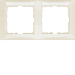 10228912 Frame 2gang horizontal with labelling field,  Berker S.1, white glossy