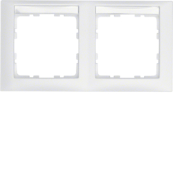 10229919 Frame 2gang horizontal with labelling field,  Berker S.1, polar white matt