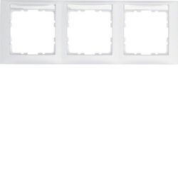 10239919 Frame 3gang horizontal with labelling field,  Berker S.1, polar white matt