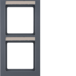 10526086 Frame 2gang vertical with labelling field,  Berker Q.3, anthracite velvety,  lacquered