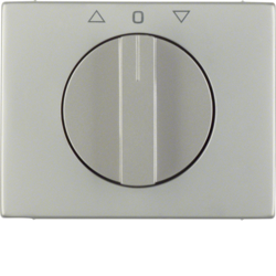 10777104 Centre plate with rotary knob for rotary switch for blinds Berker K.5, stainless steel,  metal matt finish