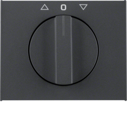 10777106 Centre plate with rotary knob for rotary switch for blinds Berker K.1, anthracite matt,  lacquered