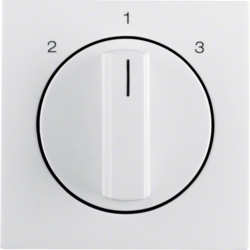10848989 Centre plate with rotary knob for 3-step switch polar white glossy