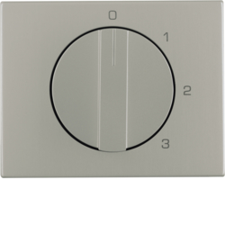 10877104 Centre plate with rotary knob for 3-step switch with neutral-position,  Berker K.5, stainless steel,  metal matt finish
