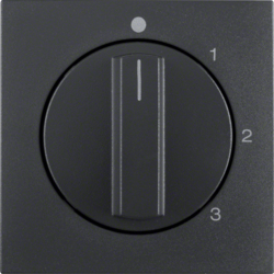 10961606 Centre plate with rotary knob for 3-step switch with neutral-position,  anthracite,  matt