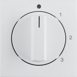 10961909 Centre plate with rotary knob for 3-step switch with neutral-position,  polar white matt