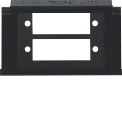 111221 Mounting plate 2gang for fibre-optic couplings Duplex SC with labelling field,  Aquatec IP44, black