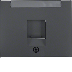 11707006 Centre plate with dust protection slider Labelling field,  Berker K.1, anthracite matt,  lacquered