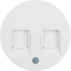 11812089 Centre plate with 2 dust protection sliders Labelling field,  polar white glossy